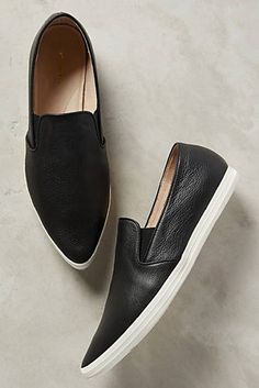 All Black Pointed Leather Sneakers