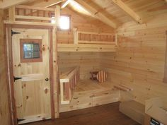 Cubby House Plans, Cubby Houses, Amish Cabins, Tiny Cabins, Lofted Barn Cabin, Bunkhouse, Shed Interior, Interior Windows, Ridge Beam