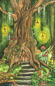 This is a fine art giclée print made from my original watercolor painting, titled Enchanted Forest Forest Drawing, Forest Painting, Forest Art, Forest House, Wow Painting, Forest Decor, Magic Forest, Drawing Art, House Painting