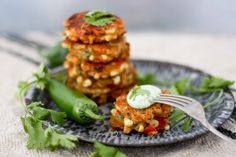 A simple tasty recipe for Spicy Corn Fritters using fresh corn, with a flavorful cilantro dipping sauce. Fast and easy to make .....and full of flavor!