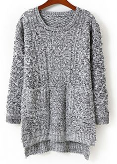 Casual Style Round Neck Long Sleeve Sweaters Grey - USD $24.35