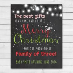 Pin for Later: The Cutest Holiday Pregnancy Announcement Ideas We've Seen Christmas Chalkboard Pregnancy Announcement Card Christmas chalkboard pregnancy announcement card ($10-$20)