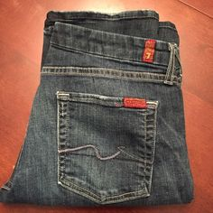 "7FAMK jeans 7FAMK  medium blue wash, minimal wear on bottom hems as seen in pics. Great soft jeans that have a nice stretch to them. 32"" inseam. Between straight leg and bootcut 14"" leg opening 7 for all Mankind Jeans Boot Cut"