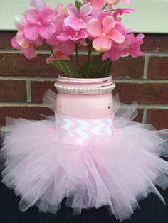 It's a Girl Baby Shower Decor, Painted Pink Mason Jar, Pink Chevron, Pink Tutu, It's a Girl Centerpiece, New Mom Gift, Shabby Chic Shower
