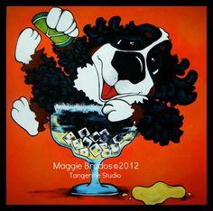 tequila bar art margarita Whimsical dog ART by tangerinestudio, $85.00