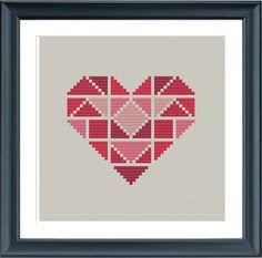geometric modern cross stitch pattern heart por Happinesst en Etsy