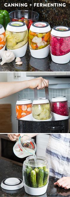 Ferment your own nutrient-rich foods–in style. This vessel keeps air out but lets gases escape—all while looking lovely in your kitchen. Great looking canning system as well.