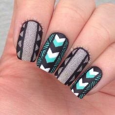 Black, Silver, and Mint Aztec Nails Get Nails, Love Nails, Hair And Nails, Nail Art Designs 2016, Cool Nail Designs, Indian Nail Designs, Aztec Nail Designs, Indian Nail Art, Indian Nails