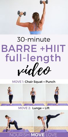 Get fit with this powerful 30 minute workout video featuring fat-scorching Barre and HIIT exercises! You'll love this at home workout video as a staple to your fitness routine. These powerful barre exercises and HIIT workout moves will strengthen and tone Ballerina Workout, Pilates Training, Home Workout Videos, At Home Workouts, Barre At Home Workout, Extreme Workouts, Workout Hiit, Ballet Barre Workout, Barre Workouts