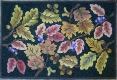 """Rug Hooking Pattern """"Natures Canopy"""" Hooked by Susan Grant designed by Martina Lesar. Our patterns are hand drawn on linen which is suitable for cuts #4 and up.  Each pattern is carefully drawn on the straight of the grain with a 3″-4″ allowance for your hoop or frame.  If available, a colour copy of the finished rug is included with your pattern.  All patterns are copyright protected."""