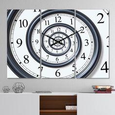 East Urban Home Oversized Time Spirals Metal Wall Clock | Wayfair Modern Wall, Modern Decor, Modern Contemporary, Rectangle Wall Clock, 3 Panel Wall Clock, Farmhouse Wall Clocks, Metal Clock, Light Reflection, Home Decor Trends