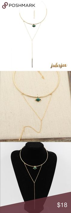 Emerald catseye & gold 2 layer choker necklace Choker with chain pendant semi-precious stone, 43 cm total length.                                                                  Shop with confidence.                                       Suggested User                                                Next day shipping                                         5star rated / Top Seller  Jewelry Necklaces