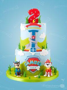Paw Patrol cake by Little Cherry Cake Company Paw Patrol Cake, Paw Patrol Party, Paw Patrol Birthday Cake, 3rd Birthday Cakes, Birthday Parties, Paw Patrol Cupcakes, Marshall Cake Paw Patrol, Birthday Cake Kids Boys, Birthday Ideas