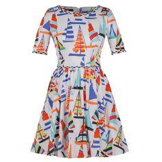 Lena Hoschek     Regatta Mini Dress (2.065 RON) ❤ liked on Polyvore featuring dresses, print, cotton mini dress, short frilly dresses, short ruffle dress, ribbon dress and print mini dress