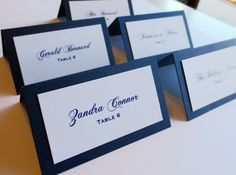 navy blue and white double layer tented - diy place card ideas-f75294.jpg (1000×742)
