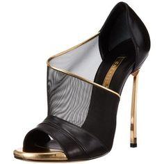 Casadei Women's Gold Heel Mesh Dress Sandal