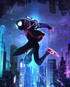 Miles Morales - Ultimate Spider-Man, Into the Spider-Verse Amazing Spiderman, Spiderman Noir, Spiderman Kunst, Black Spiderman, Spiderman Spider, Spider Gwen, Marvel Comics, Marvel Art, Marvel Heroes