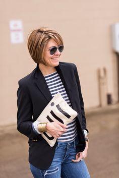 2015 blazer (Nordstrom Rack ), stripe , denim (Paige), clutch Clare Vivier sneaks (Nike),