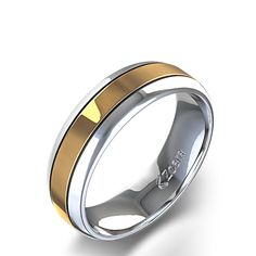 Double Channel High Polish Ring in 14k Two Tone Gold