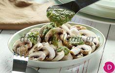 Σαλάτα με μανιτάρια και λαδολέμονο άνηθου   Dina Nikolaou Salad Bar, Pasta Salad, Salads, Stuffed Mushrooms, Chicken, Meat, Ethnic Recipes, Food, Crab Pasta Salad