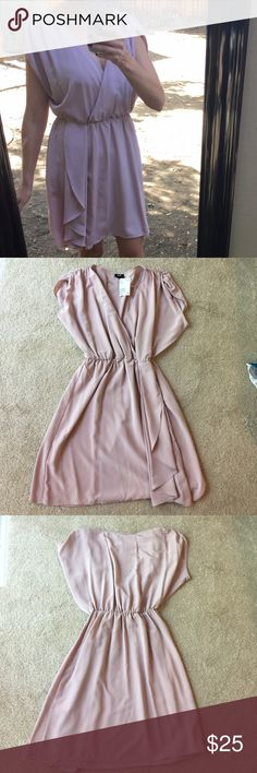 "H&M mauve colored dress size 6👗 NWT but belt is missing. Top is a relaxed fit with elastic waistband. Model is 5'5"" for reference H&M Dresses"