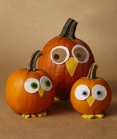 8 Easy Pumpkin Centerpieces to Complete Your Fall Table Kids will love these pumpkins disguised as owls. Make one for each member of your family, and sit them at the center of your fall table. Casa Halloween, Halloween Pumpkins, Halloween Crafts, Halloween Costumes, Fall Crafts, Holiday Crafts, Kids Crafts, Pumpkin Crafts Kids, Mini Pumpkins