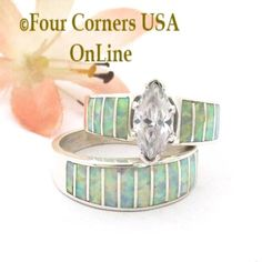 Size 7 White Fire Opal Wedding Engagement Ring Set Ella Cowboy WS-1650 Four Corners USA OnLine Native American Navajo Silver Jewelry Wedding Bands For Her, Engagement Wedding Ring Sets, Engagement Ring Settings, Wedding Ring Bands, Solitaire Engagement, Alternative Wedding Rings, Natural Opal, Native American Jewelry, Rings For Men
