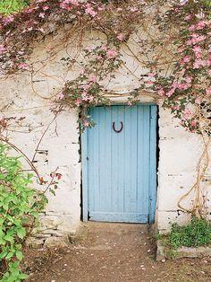 European photo of blue door with horseshoe near Lough Corrib, Ireland by Dennis Barloga | Photos of Europe: Fine Art Photographs by Dennis Barloga