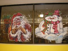 Christmas Window Painting: Santa and Snowman Couple