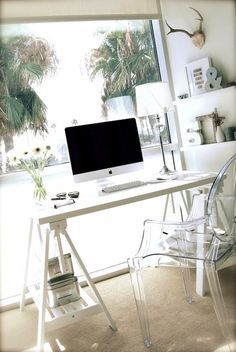 For my office!!!!    Suzie: Stylizmo Blog - Chic office with white sawhorse desk, Kartell Ghost Chair and white ...