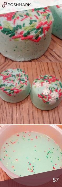 "Merry Mintmas Peppermint Bath Bomb I handmade these Christmas bath bombs. They are a beautiful light green color and fit in the palm of your hand! The scent is peppermint so it makes your skin have a nice, icy hot feeling while festive sprinkles float in the water with you! These bath bombs are luxurious because they will relax sore muscles and make your skin super soft! I recommend using only half for each bath so the mint is not too overwhelming for you. They are 1"" tall and 3"" wide. Other"