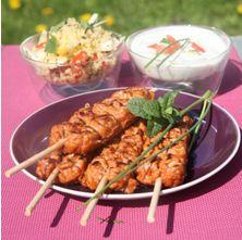 Brochettes de Porc Plein Grill à la tomate, sauce Raïta et Taboulé Libanais | Socopa