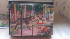 Vintage Play Block Puzzle in Original Box Wooden Cube Puzzle with 6 Drawings of Fairy tale Made in Germany U.S. Zone 1946/49 on Etsy, $38.82