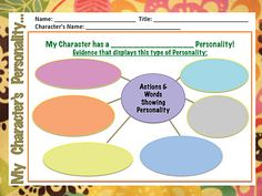 Character Personality Bubble Map Organizer - Pinned by @PediaStaff – Please visit http://ht.ly/63sNt for all (hundreds of) our pediatric therapy pins
