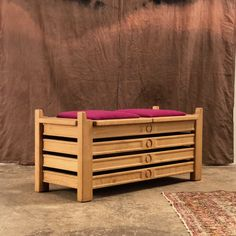 midcentury bench trunk by Guillerme and Chambron Votre maison edition massive oak original wool fabric in perfect condition HB HS W 112 CM D Wool Fabric, French Antiques, Modern Design, Trunks, Bench, Mid Century, The Originals, Storage, Furniture