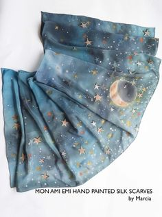 The moonlight and stars Romantic, maybe mysterious nights. Quiet and beautiful out there far away, magical shinny stars, Moon light. This is Stars collection Shawl which I enjoy to paint and so inspired by the cold winter with great night skies which is purely joy to watch and see beyond or just reflect on the New Year ahead of. Product Details: Fabric: Pure Silk Crepe de Chine Size: 53cm x 157cm/ 21 x 62 inches Finish:Neat and clean hand rolled hem  My passion is to work with silk. Silk is…