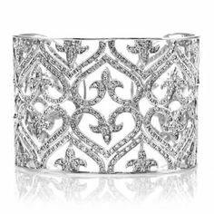 Berit's Vintage Heart CZ Cuff Bracelet Emitations. $308.00