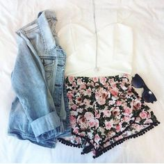 White Top and Floral Shorts with Denim Shirt and Long Necklace
