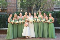 Lauren's bridesmaids all looked beautiful in their clover green bridesmaids dresses from Bill Levkoff! http://belfiorebridal.com/bel-fiore-bridesmaids-lauren-pound-perkins/