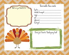 30 Days of Thankfulness – Free Thanksgiving Printable Kids Placemats