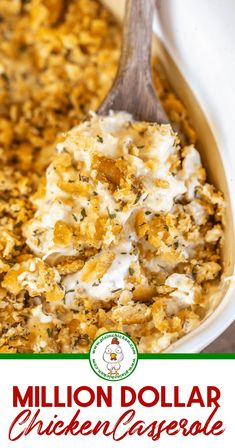 Million Dollar Chicken Casserole - Plain Chicken - Chicken Dinner Recipes Million Dollar Chicken, Baked Chicken Recipes, Easy Chicken Meals, Chicken Recipes With Cream Cheese, Chicken Tetrazzini Recipes, Chicken Soups, Slow Cooker Chicken, Recipes For Shredded Chicken, Casseroles With Chicken