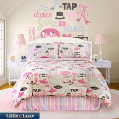 @Overstock.com.com - Your little dancer will be thrilled with this pink bedding set featuring dance-themed motifs. The set includes one full-sized microfiber comforter, the coordinating bed skirt, and two pillow shams. All pieces are 100 percent machine washable polyester.http://www.overstock.com/Bedding-Bath/Dance-Princess-4-piece-Full-size-Comforter-Set/6573225/product.html?CID=214117 $47.69