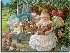 Hollys Bears, a painting of a young girl having a tea party with her teddy bears in the garden sitting on a wooden bench on pretty pillows, ...
