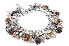 Man cannot live on chocolate alone; but woman sure can This beautiful chocolate silver charm bracelet, I Love Chocolate is created using hand painted truffles, beautiful art images, and swarvoski elem