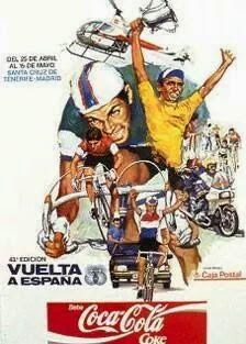 1988 Vuelta a Espana Poster. This has to be our favourite Vuelta poster. If there was an eighties movie about the Vuelta a Espana, this would be the film poster! There's just so much going on… Cycling Art, Cycling Bikes, Bike Poster, Vintage Cycles, Tour Posters, Sports Images, Bicycle Art, Bike Design, Soft Drink