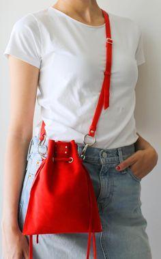Small Crossbody Bag Women, Red Crossbody Bag, Small leather bag, Small Red Leather Bag