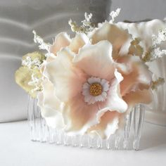 Silk Flower Hair Comb Blush Pink and Ivory Bridesmaid Hair Accessories Rustic Weddings Flower Combs Bridesmaid Accessories