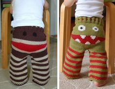 Monkey Butt & Monster Butt :)   Wish they were crochet! Might be enough to make me learn to knit.... or fork over money for the item on etsy :)