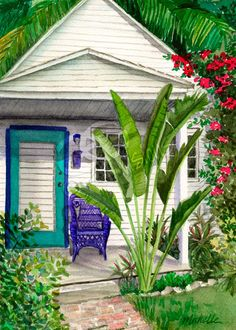 Key West Cottage watercolor.  Beautiful.