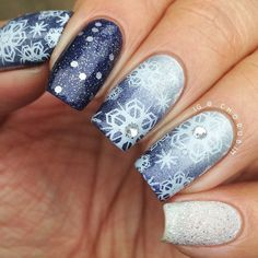 Snowflakes Christmas by chorubim #nail #nails #nailart